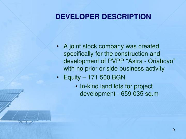 DEVELOPER DESCRIPTION