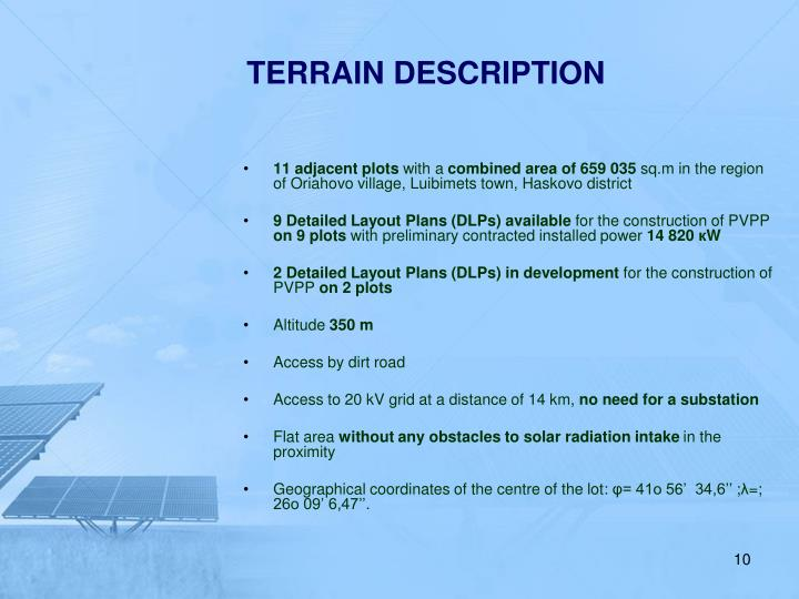 TERRAIN DESCRIPTION