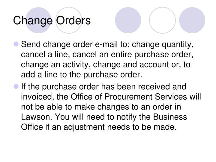Change Orders