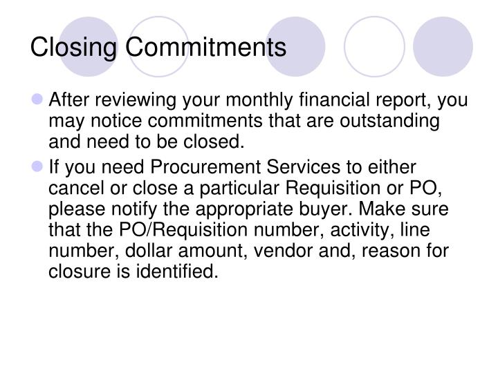 Closing Commitments