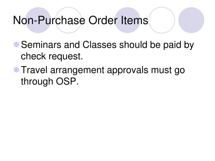 Non-Purchase Order Items