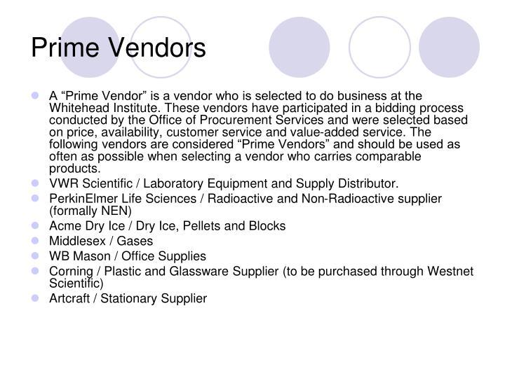 Prime Vendors