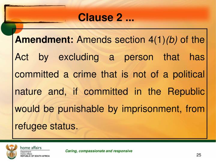 Clause 2 ...