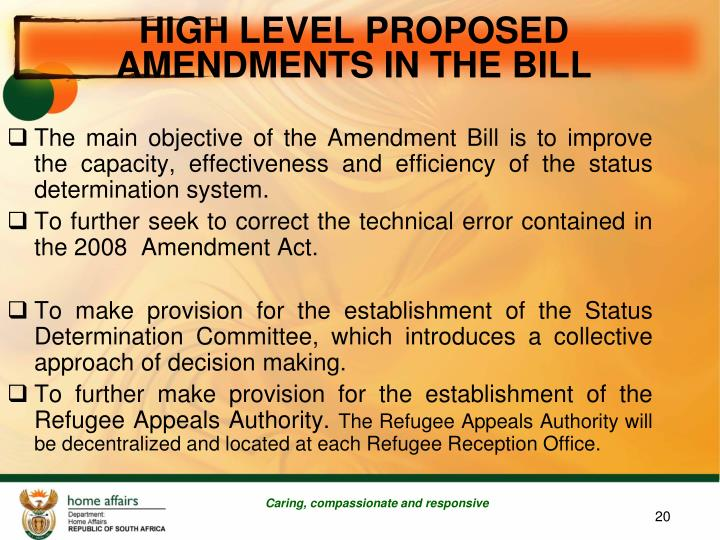 HIGH LEVEL PROPOSED  AMENDMENTS IN THE BILL