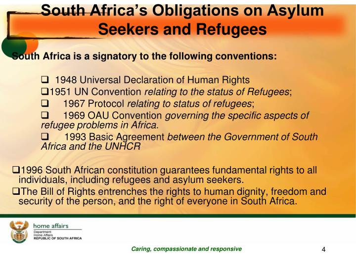 South Africa's Obligations on Asylum Seekers and Refugees
