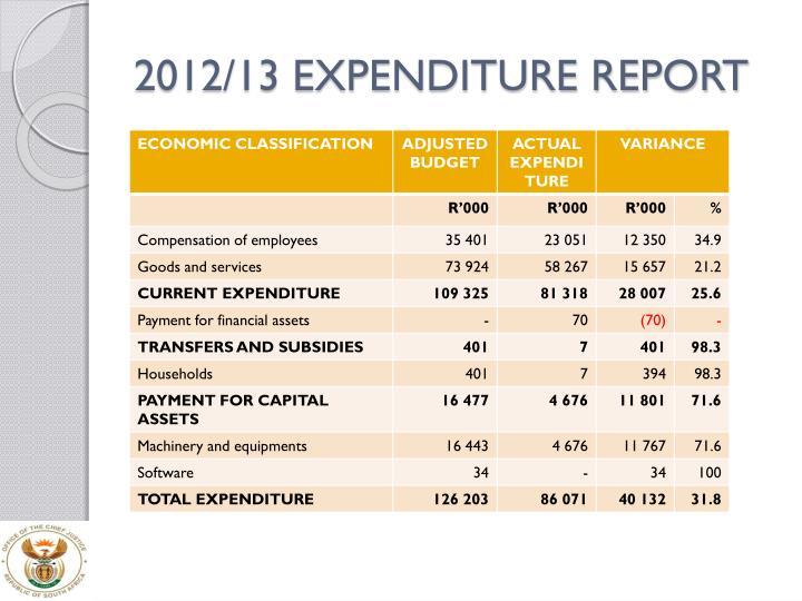 2012/13 EXPENDITURE REPORT