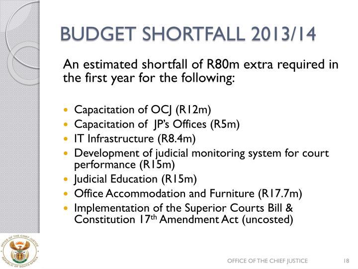 BUDGET SHORTFALL 2013/14