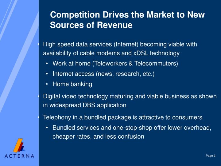 Competition drives the market to new sources of revenue