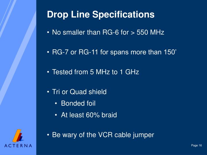Drop Line Specifications
