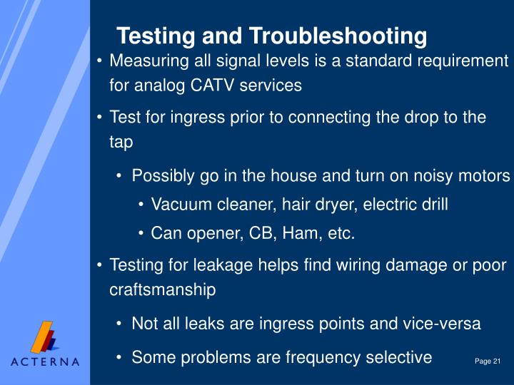 Testing and Troubleshooting