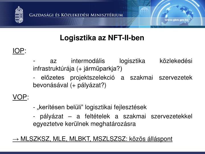 Logisztika az NFT-II-ben