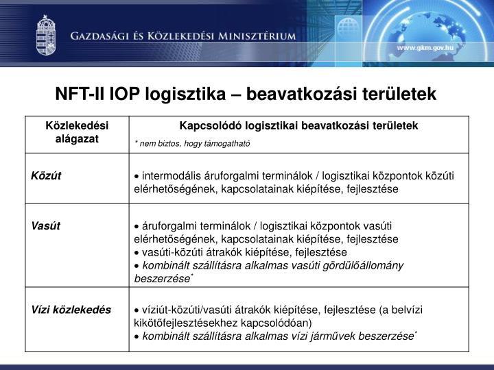NFT-II IOP logisztika – beavatkozási területek