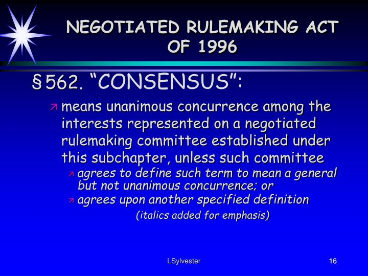 NEGOTIATED RULEMAKING ACT