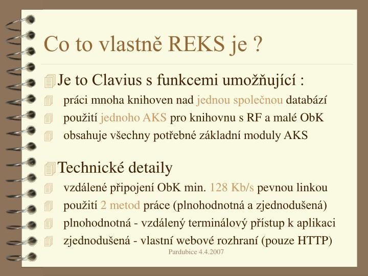 Co to vlastně REKS je ?