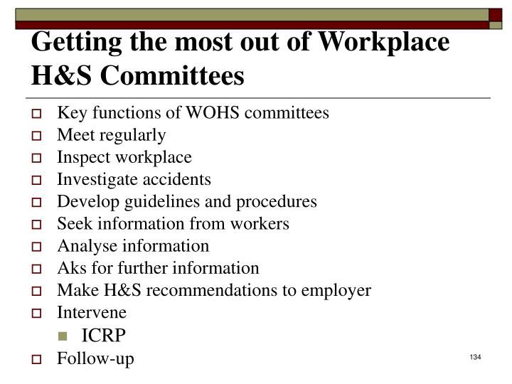 Getting the most out of Workplace H&S Committees