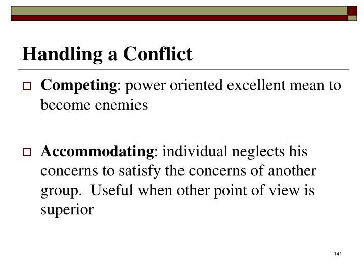 Handling a Conflict
