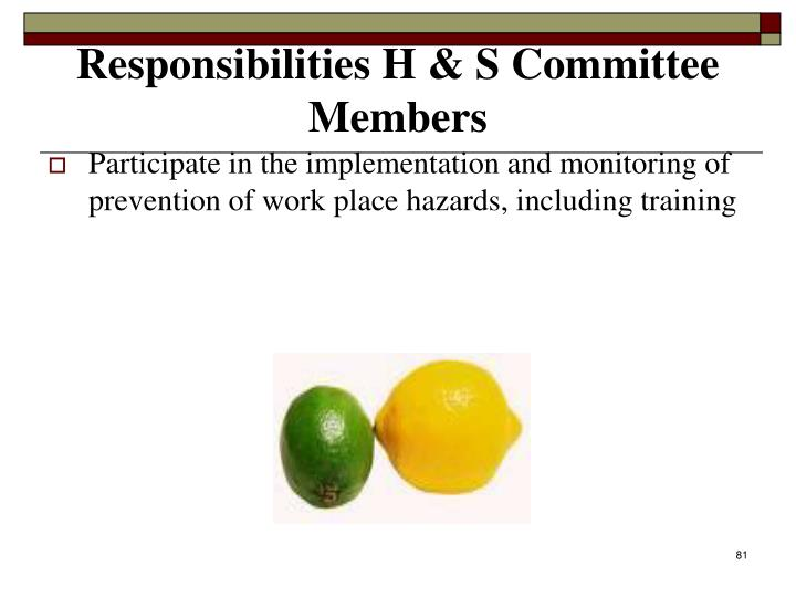 Participate in the implementation and monitoring of prevention of work place hazards, including training