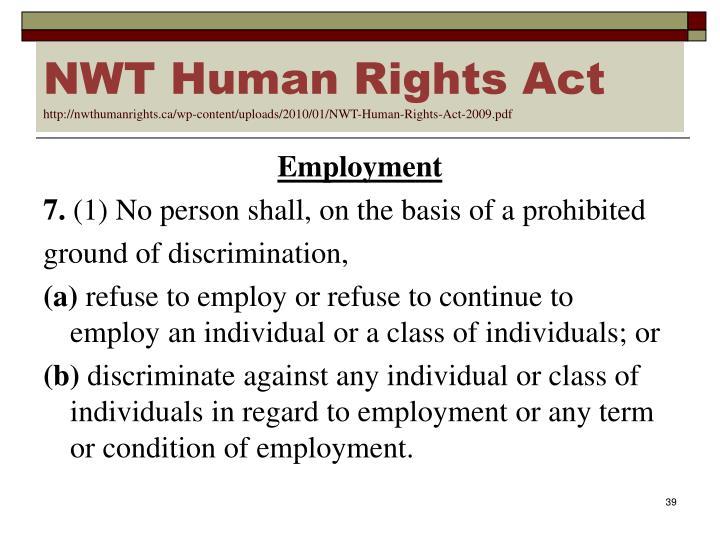 NWT Human Rights Act