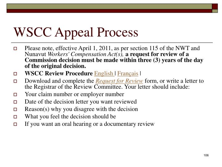 WSCC Appeal Process