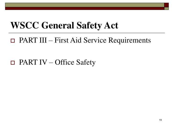WSCC General Safety Act