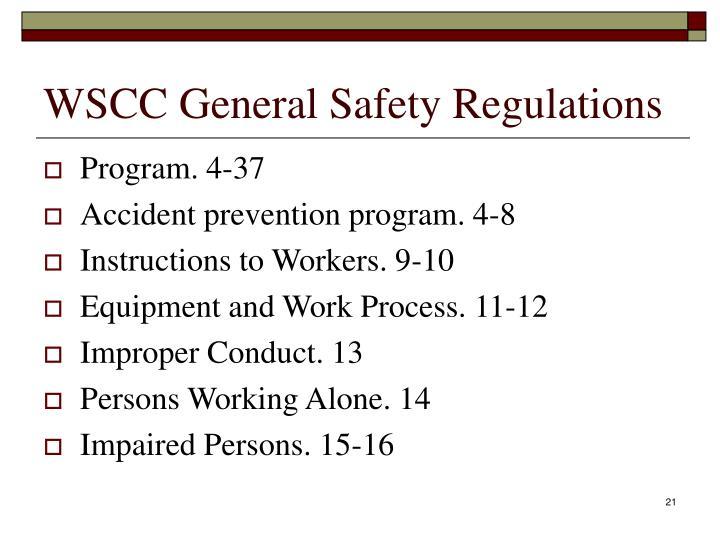 WSCC General Safety Regulations