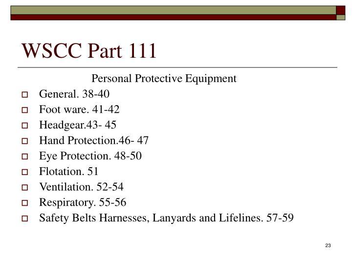 WSCC Part 111