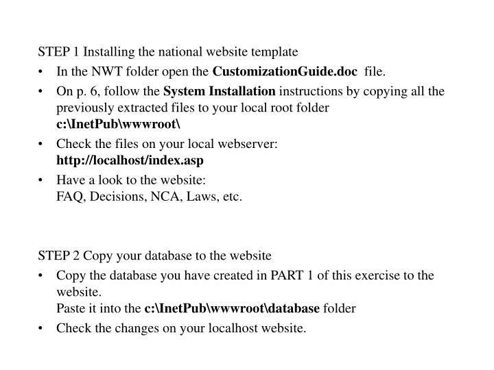 STEP 1 Installing the national website template