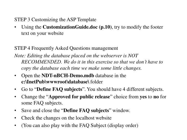 STEP 3 Customizing the ASP Template