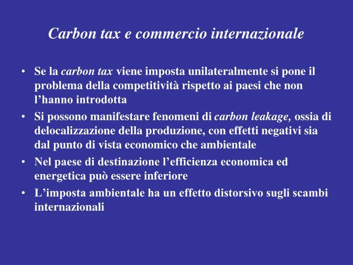 Carbon tax e commercio internazionale