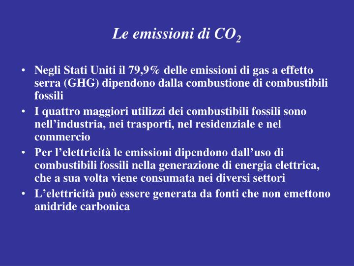 Le emissioni di CO