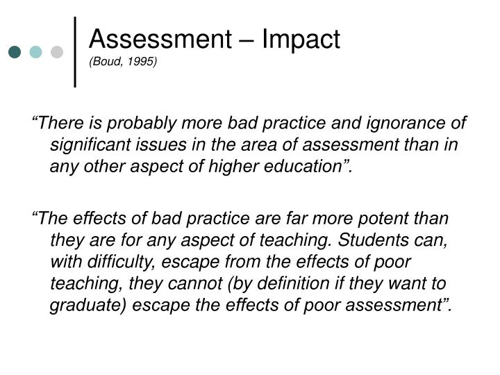 Assessment – Impact