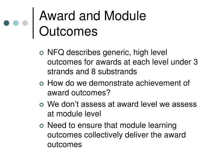 Award and Module Outcomes