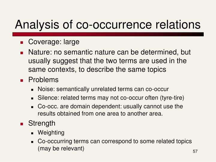 Analysis of co-occurrence relations