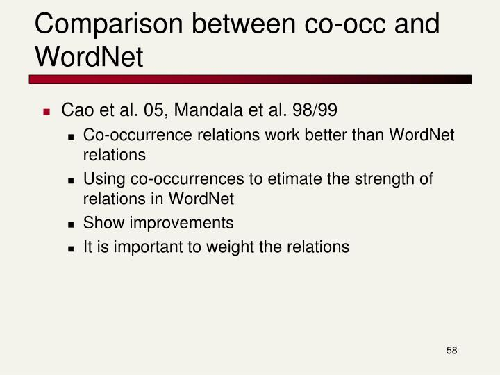 Comparison between co-occ and WordNet