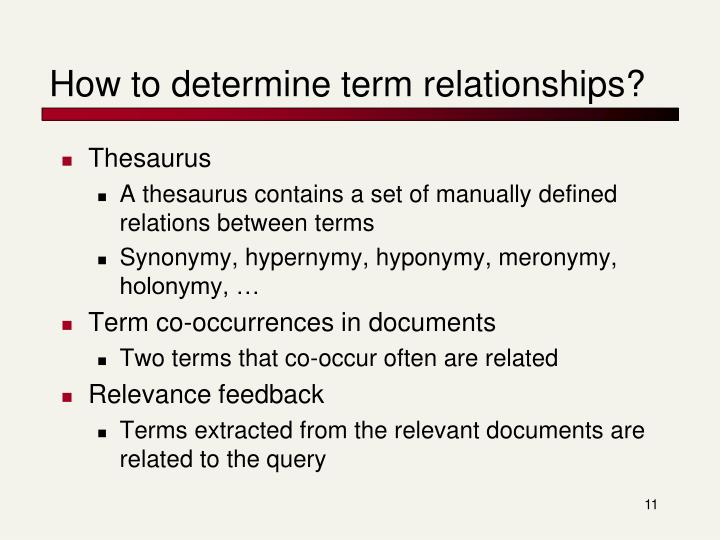 How to determine term relationships?