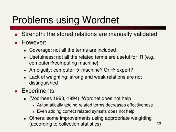 Problems using Wordnet