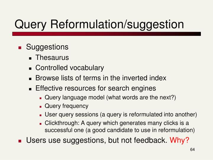Query Reformulation/suggestion
