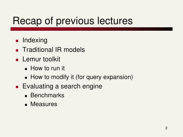 Recap of previous lectures