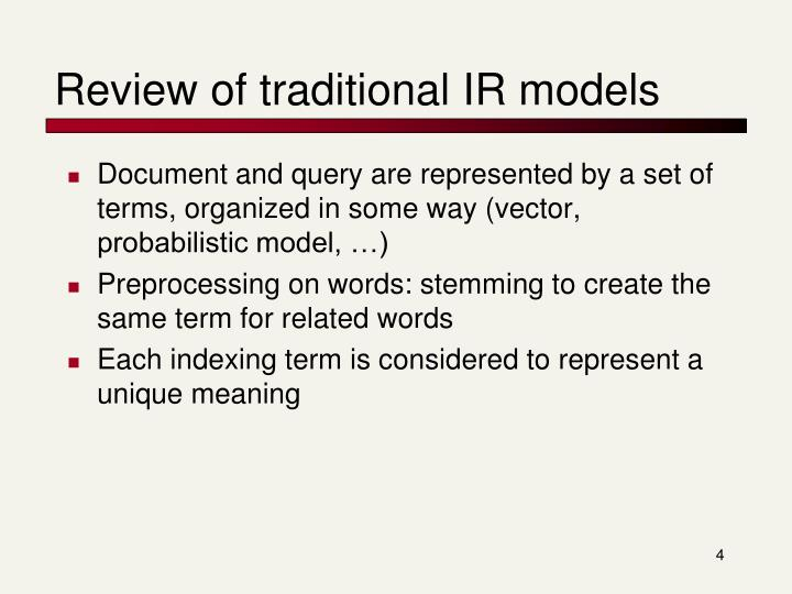 Review of traditional IR models
