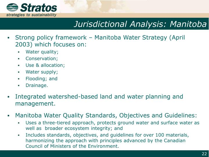 Jurisdictional Analysis: Manitoba
