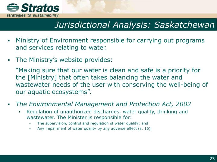 Jurisdictional Analysis: Saskatchewan