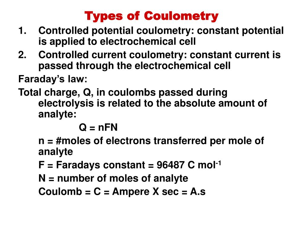 PPT - Unit 2 A Coulometry and Electrogravimetry PowerPoint