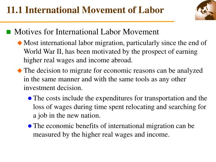 11.1 International Movement of Labor