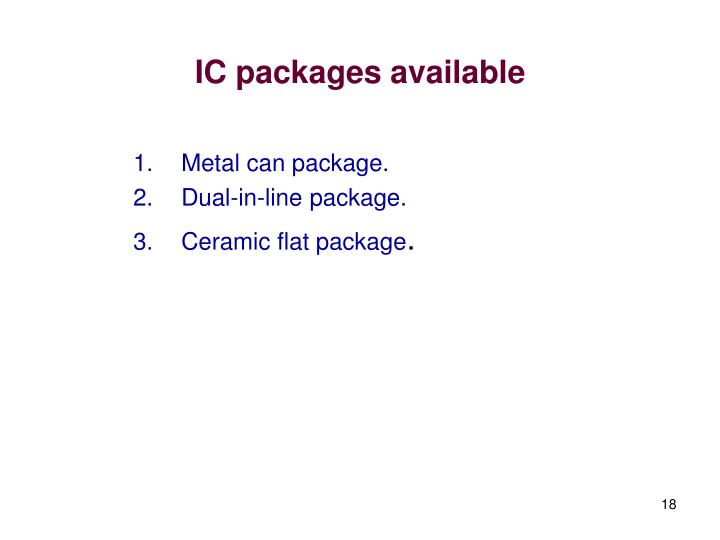 IC packages available