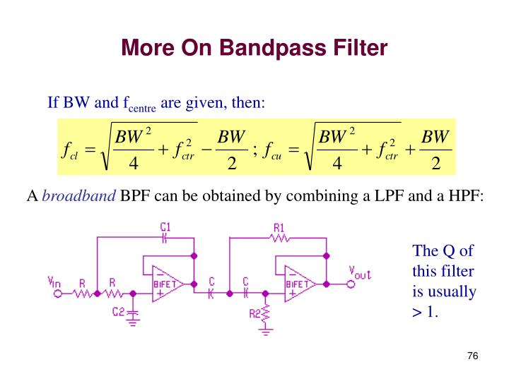More On Bandpass Filter