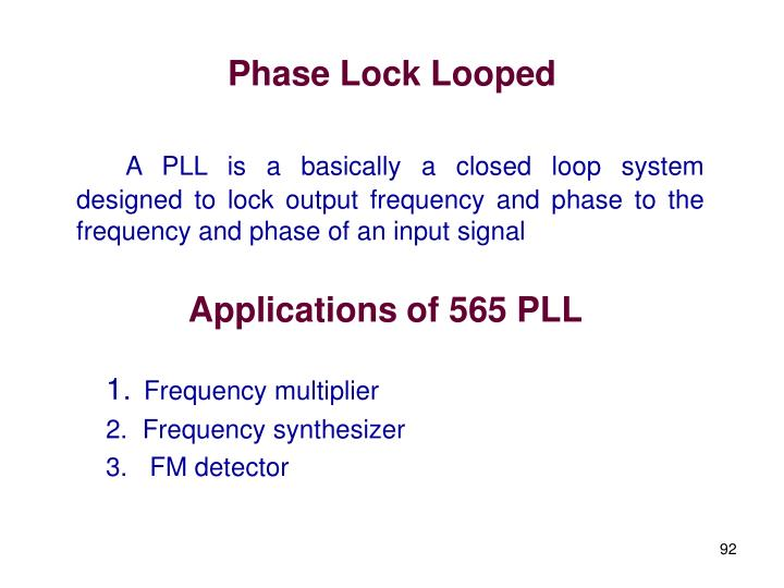 Phase Lock Looped