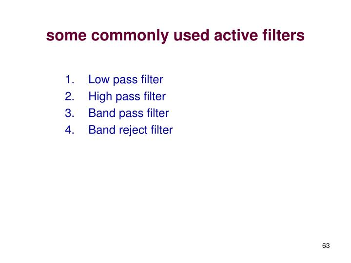 some commonly used active filters