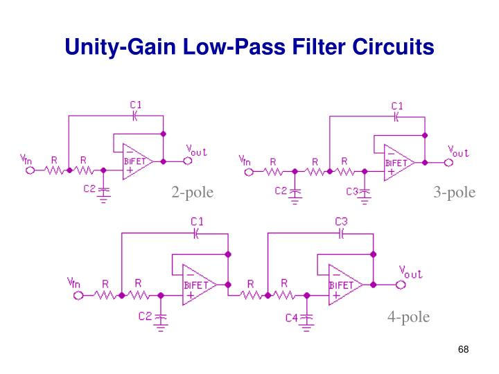 Unity-Gain Low-Pass Filter Circuits