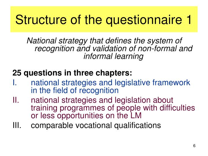 Structure of the questionnaire 1