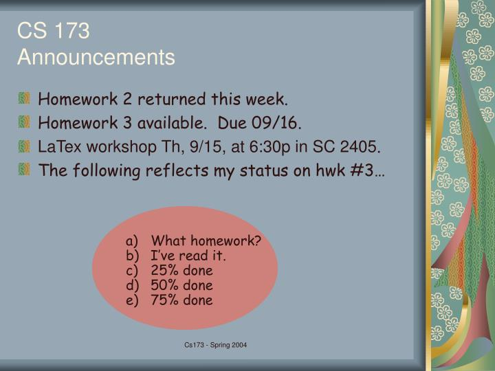 Cs 173 announcements